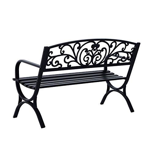 Outsunny® Gartenbank Sitzbank Bank Metall Gartenmöbel 2-Sitzer Schwarz 2 Module (Modell 1) - 5