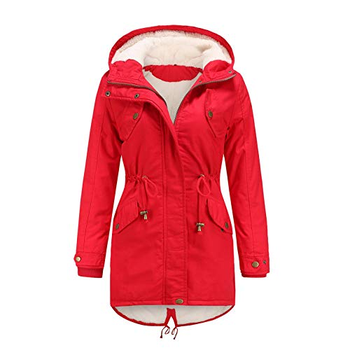 Janly Clearance Sale Abrigos de invierno para mujer, abrigo con capucha y cordón cálido dentro de forro polar acolchado con cremallera delgada, para mujer Outwear (Rojo-XXL)