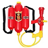 Fireman Toy Backpack Water Pistols/Fire Bucket Plastic Spraying Toy Fire Extinguisher Water Squirting Toy Firefighter Water Gun Toy Set for Child Gift