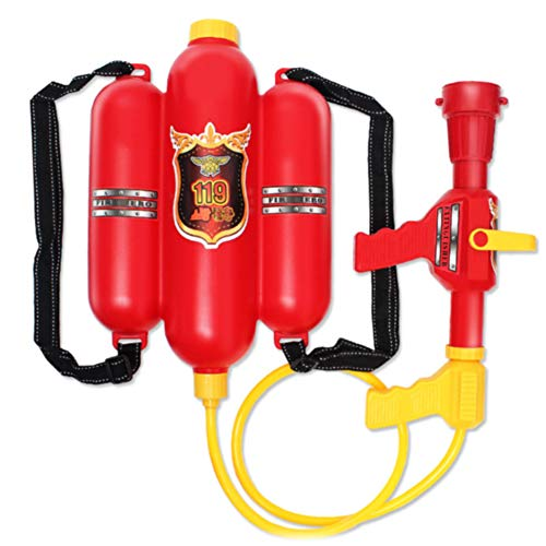 INGHU Novelty Firefighter Backpack Water Gun Blaster fire Toy Extinguisher. for Fireman Costume, Outdoors, Pools, Summer,Beach,Bath and Halloween.Includes Bag