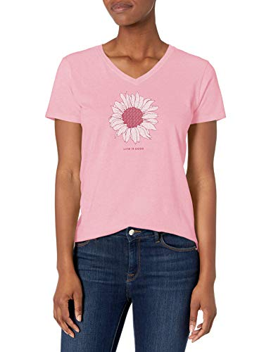Life Is Good Crusher Vee T-Shirt pour Femme Motif Marguerite française XXL Happy Pink