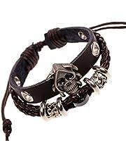 Brown leather bracelet with skull design for men