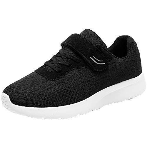 CXQWAN Oudere Sportschoenen, Verstelbare Sneakers Ouderen Wandelschoenen Antislip slijtvast Veiligheid voor Artritis Gezwollen Schoenen, Zwart, 43