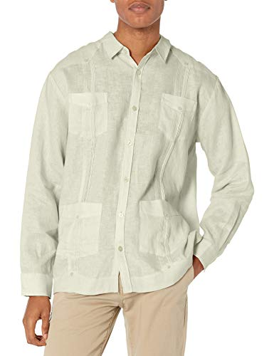 Cubavera Herren Long-Sleeve 100% Linen Guayabera Shirt Button Down Hemd, Natürliches Leinen, 5X-Groß