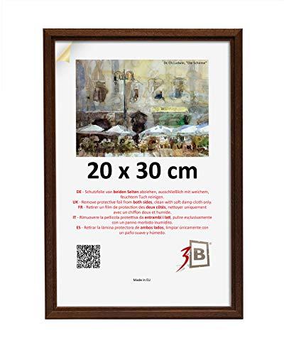 3B Cornice Jena - Marrone Scuro - 20x30 cm - in Legno, Foto, Cornice da Parete con Vetro Poliestere (Foglio di plastica)
