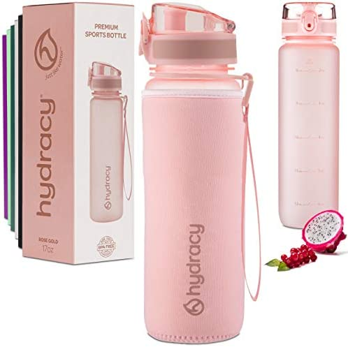 Hydracy Water Bottle with Time Marker 500 ml 17 Oz BPA Free Water Bottle Leak Proof No Sweat product image