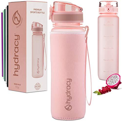 Hydracy 500ml Wasserflasche mit Infuser und Zeitmarkierung - BPA-Frei Auslaufsicher und Kondenswasserfrei - Ideal für Sport und Outdooraktivität - Rosa Gold