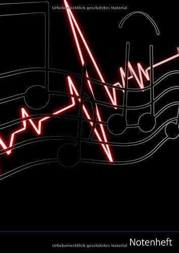 Notenheft: Großes leeres Notenheft A4, 8 Notensysteme ohne Notenschlüssel für die Notation eines Vokalparts oder für Solo-Instrumente (Geige, Flöte, Cello, Gitarre usw.)
