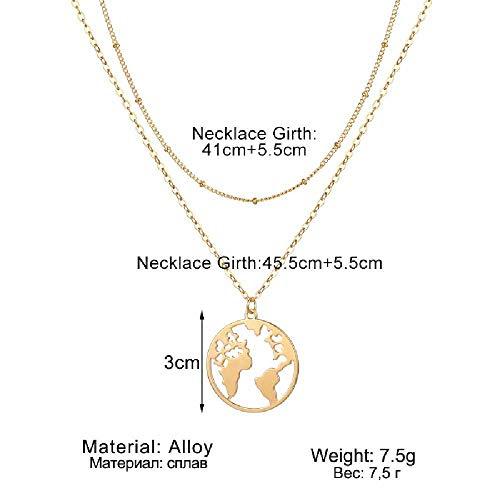 maofan Stijlvolle Ronde Hanger, Wereldkaart Ketting, Meerlaagse Kraag Sieraden Gouden
