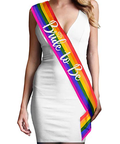Rainbow Bride Gay Wedding Sash - Premium Quality Silver with Diamond Motif Bride To Be - Bridal Sash Gay Pride, Lesbian Sash (DiamB2B Slv) RBW