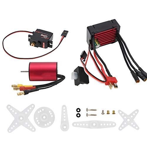 Dilwe Juego Combinado de Controlador de Velocidad RC, Motor sin escobillas 3300KV 25A ESC 17G Juego Combinado de servo de Metal para 1/16 1/18 Accesorios de actualización de Coche RC sin escobillas
