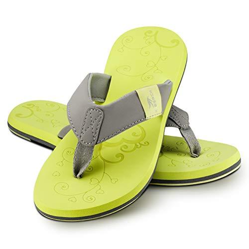 Ultrapower Flip-On Damen Zehentrenner | Flip Flops | Badelatschen | Strandschuhe | Duschlatschen | Zehenstegpantolette | Bad | Sauna Schuhe | Sandalen | ZT2 | Gelb/Grau | Gr.39