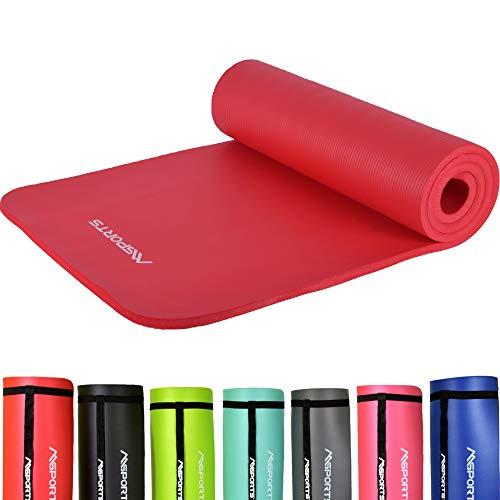 MSPORTS Gymnastikmatte Studio 183 x 61 x 1,0 cm Rot + Übungsposter und Tragegurte | Hautfreundliche - Phthalatfreie Fitnessmatte - sehr weich | Yogamatte