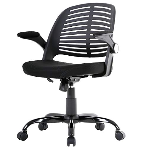 Office Chair Desk Chair Computer Chair with Lumbar Support Flip Up Arms Executive Rolling Swivel Modern Cute Mesh Task Ergonomic Chair for Back Pain,Black