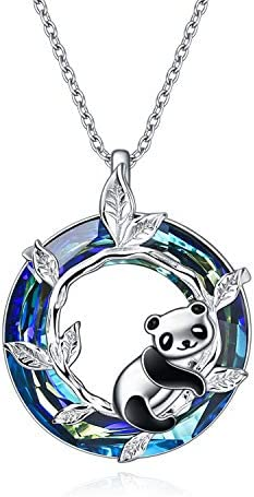 ONEFINITY Panda Gifts Sterling Silver Panda Necklace Panda Crystal Pendant Jewelry for Women product image