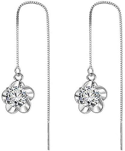 OUHUI Women Earrings Dangling Elegant Girls Party Plum Flower Design Tassel Dangle Earring Jewelry Gift 1 Pair White Decorations/White