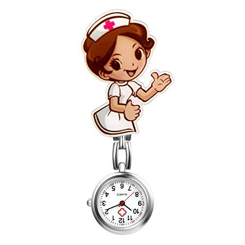 LANCARDO Uhren, Krankenschwester Armbanduhr FOB-Uhr Damen Taschenuhr Analog Quarzuhr aus Legierung LCD037P026 (Typ 4)