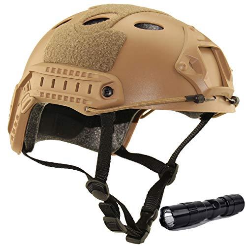 QMFIVE Casco táctico Estilo Militar, Casco de Airsoft Paintball Casco para con protección Gafas para Airsoft o Paintball, con Gafas, para Combate en Espacios Cerrados (Desierto+L)