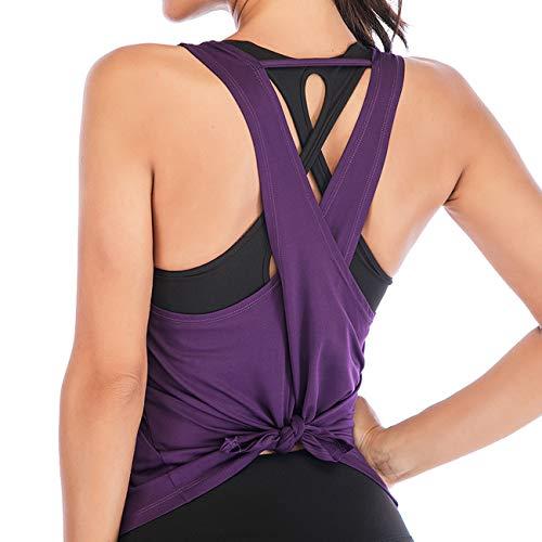 CFR Damen-Tank-Top, offener Rücken, zum Binden, für Workout, Fitnessstudio, Laufen, Yoga, lockere Passform Gr. XS, violett