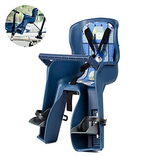 Seggiolino per bici per bambini Il sedile anteriore è dotato di poggiatesta regolabile con imbracatura a 3 punti e supporti imbottiti per barra trasversale facilmente sulla ruota posteriore