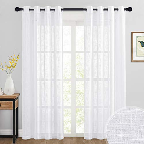 RYB HOME Sheer Curtains 84 inches - Linen Curtains Privacy Semi Sheer White Curtains Christams Decor for Bedroom Living Room Canopy Sun Room, 52 x 84 inch Long, 1 Pair