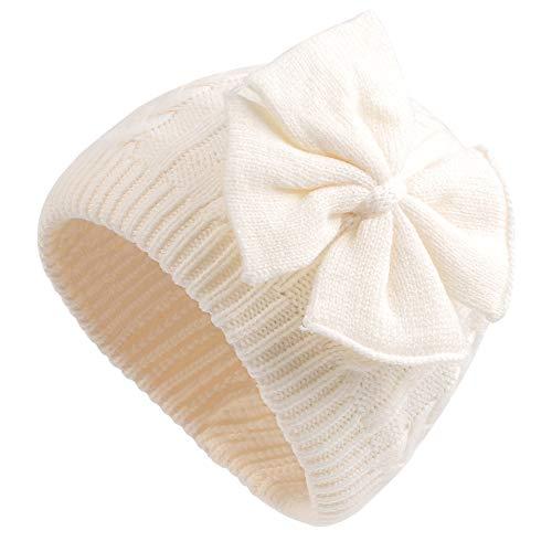 XIAOHAWANG Nœud Bébé Hiver Bonnet Fille Rose Blanc Gris Chapeau Enfant Tricoté Chapeaux Oreillette 0 à 6 Ans (Blanc, L)