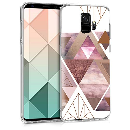 kwmobile Hülle kompatibel mit Samsung Galaxy S9 - Handyhülle - Handy Case Glory Dreieck Muster Rosa Rosegold Weiß