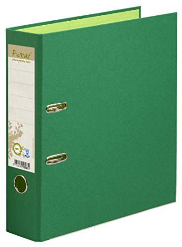 Exacompta 53983E Ordner (aus Recycling Karton, 2 Ringe, 80mm Rücken, Din A4) 1 Stück dunkelgrün