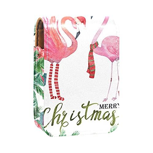 Étui à rouge à lèvres en forme de flamant rose dans un costume de Noël - Pour femme - Peut contenir jusqu'à 3 rouges à lèvres
