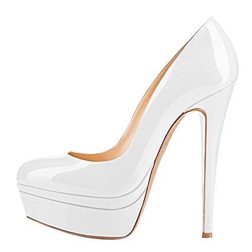 Onlymaker Damenschuhe Pumps High-Heels Stiletto mit Plateau Rutsch Hochzeit Weiß EU35