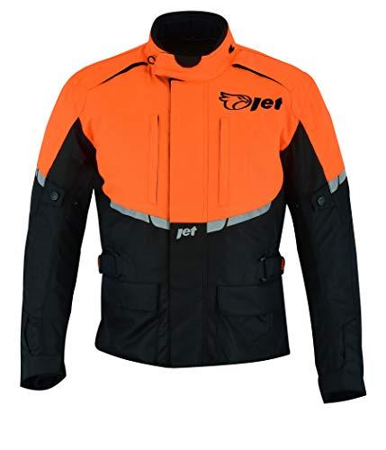 Jet Motorradjacke Herren Mit Protektoren Textil Wasserdicht Winddicht Tourer (M (EU 48-50), Orange)