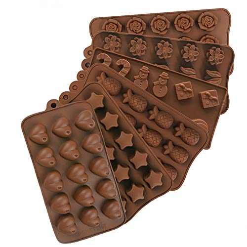 ZARYIEEO 6PCs Silicone Chocolate Mold, 15-Cavity Candy Cupcake Jelly Pudding Cookie Dessert Muffin Bread Ice Mould, Handmade Soap Cake Decoration Wax Melt Pan, Hard Chocolate Mold Kit for Baking DIY