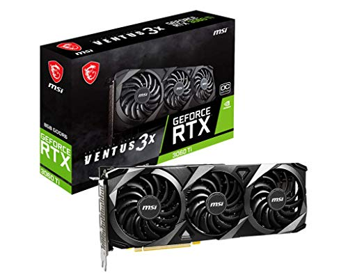 MSI Gaming GeForce RTX 3060 Ti 8GB GDRR6 256-Bit HDMI/DP 1695 MHz Ampere Architecture OC Graphics Card (RTX 3060 Ti Ventus 3X OC)