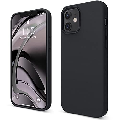 """elago Silicone Liquido Custodia Cover Compatibile con iPhone 12 Case e Compatibile con iPhone 12 PRO Case (6.1""""), Silicone Liquido Premium, Protezione Full Body : Case Antiurto 3 Strati (Nero)"""