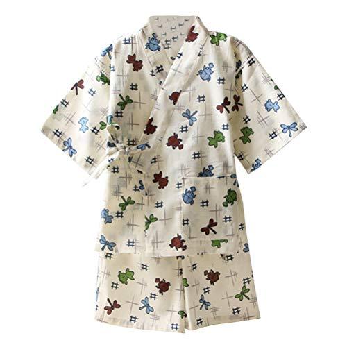 Amosfun Blanco Kimono Casual japonés Ropa de Dormir Tradicional y fácil Uso Algodón y Lino Yukata para niños Niños