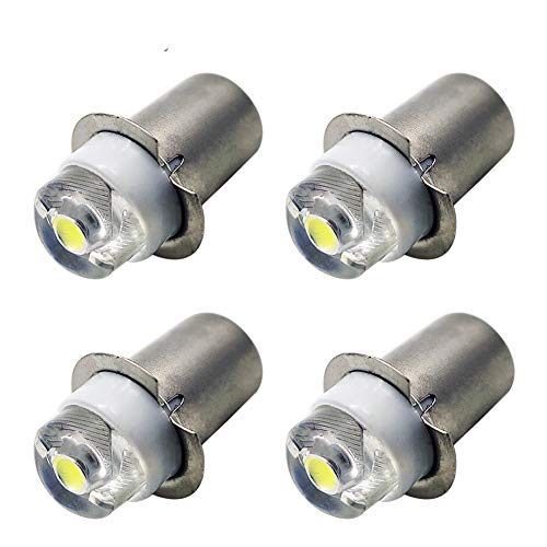 Ruiandsion LED Flashlight Bulbs P13.5S LED Bulbs 3-18V COB 0.5W White LED Upgrade Bulb for Torch Lantern Work Lights (Pack of 4)