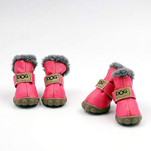 PIHAPPY Warm Winter Little Pet Dog Boots Skidproof Soft Snowman Anti-Slip Sole Paw Protectors Small Puppy Shoes 4PCS (L, Pink)