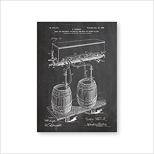 Barril de cerveza aire frío presión grifo impresiones de patentes arte de pared carteles decoración de la habitación plano vintage lienzo idea de regalo cuadro de pintura sin marco-C_30x40cm