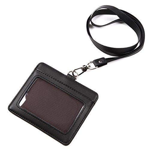 モノボックスジャパン 牛革 IDカードホルダー ネックストラップ ポケット2か所 安全装置 強化フィルム 軽量モデル パスケース 1name-mono3 (ブラック)