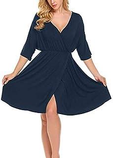 QGTDRESS Fashion V-Neck Mid-Sleeve Large Swing Skirt Maternity Dress, Size:XXL(Dark Grey) (Color : Navy Blue)