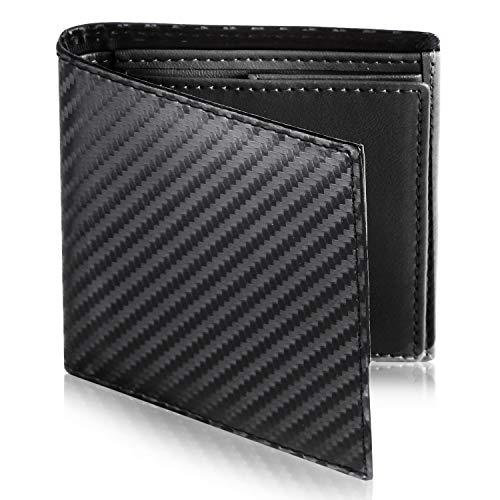 [Le sourire] ミニマリスト 二つ折り 財布 ビジネスマンの本革財布 極小×機能性 メンズ (ブラック×ブラック)
