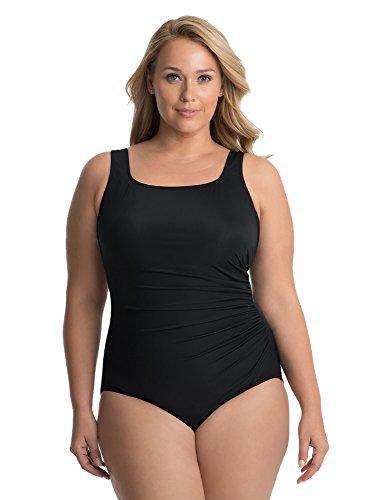Miraclesuit Women's Plus Size Swimwear Solid Sideswipe Square Neckline Underwire Bra One Piece Swimsuit, Black, 24 Plus