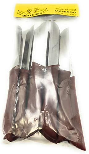 KIMERA Juego de 12 cuchillos de mesa, frutas y verduras, cuchillo de acero inoxidable AISI420 de 8 cm. Mango de polipropileno verde manzana – Navaja Pascotto   Doi Leons (marrón castaña)