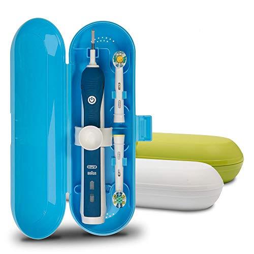 Reiseetui für elektrische Zahnbürsten von Oral-B Pro Serie, Kunststoff, Weiß/Blau/Grün, 3 Stück