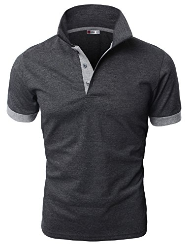 H2H Men's Fashion T-shirt Cotton Solid Short-sleeved Polo Shirt NAVY US M/Asia XL (JDSK36)