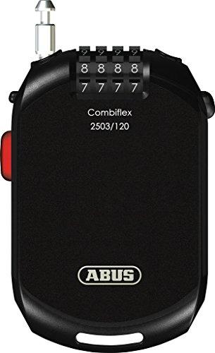 ABUS Spezialschloss Combiflex 2503/120 - Geeignet als Gepäcksicherung, Skischloss, Helmsicherung - 120 cm Stahlkabel - mit Zahlencode - Schwarz