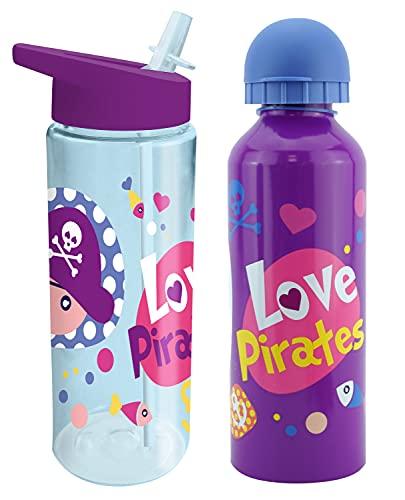 HOVUK - Confezione di cannucce pop-up in alluminio e plastica, 500 ml, per bambini e ragazzi, 2 bottiglie sportive in colore viola e blu, a prova di perdite