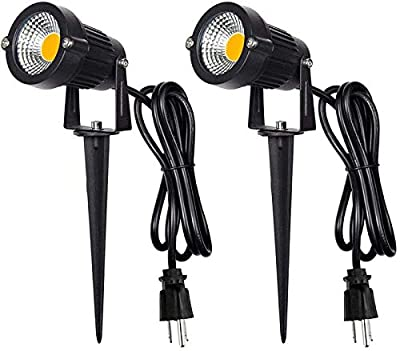 No/Brand Outdoor Landscape LED Lighting 5W Waterproof Graden Lights COB Led Spotlights with Spiked Stand for Lawn Decorative Lamp US 3- Plug (2 Packs) (Warm White)