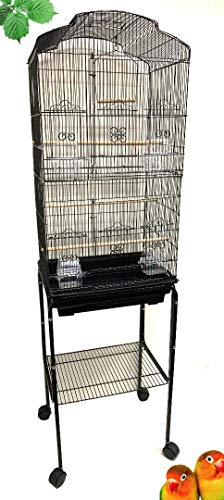 Canary Parakeet Cockatiel LoveBird Finch Bird Cage With Stand --18'x14'x60'Black