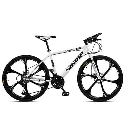 NENGGE Bicicleta Montaña 24 Pulgadas Hombre Mujer, Profesional Ligero Hard Tail MTB Bike, Ciclismo Unisex con Doble Freno Disco & Marco De Acero De Alto Carbono,White 6 Spokes,24 Speed